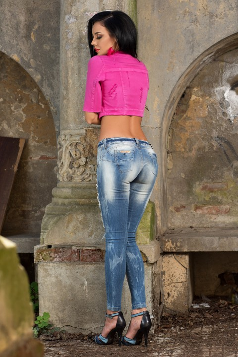 giubbino corto in denim fucsia