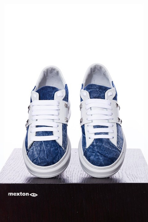 sneakers sportive blu denim a bordo alto bianco.