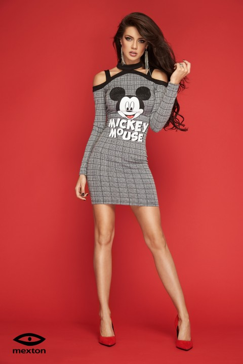 abito casual in tessuto tweed con stampa disney.