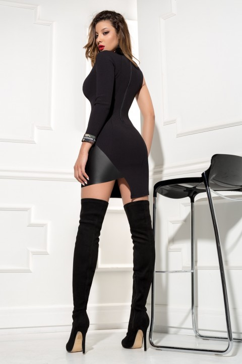 MInidress casual nero monomanica con inserto in ecopelle.