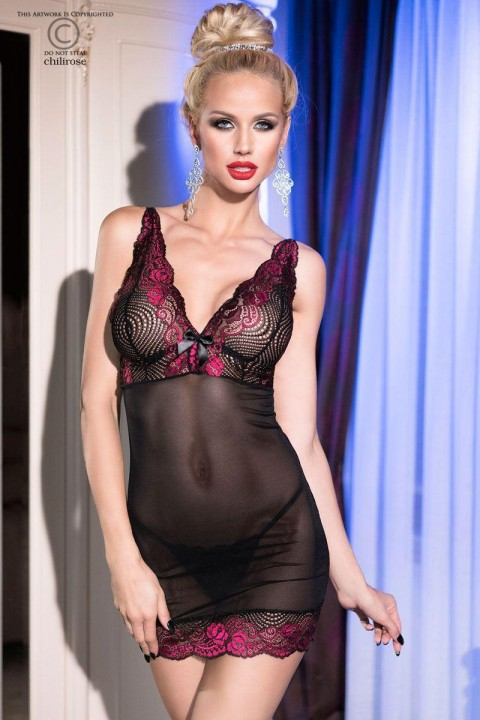 chemise in tulle e pizzo con tanga