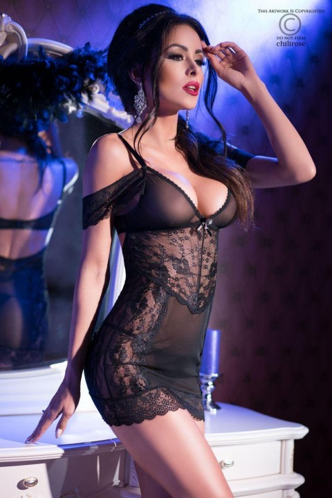 chemise in pizzo e tulle con strass