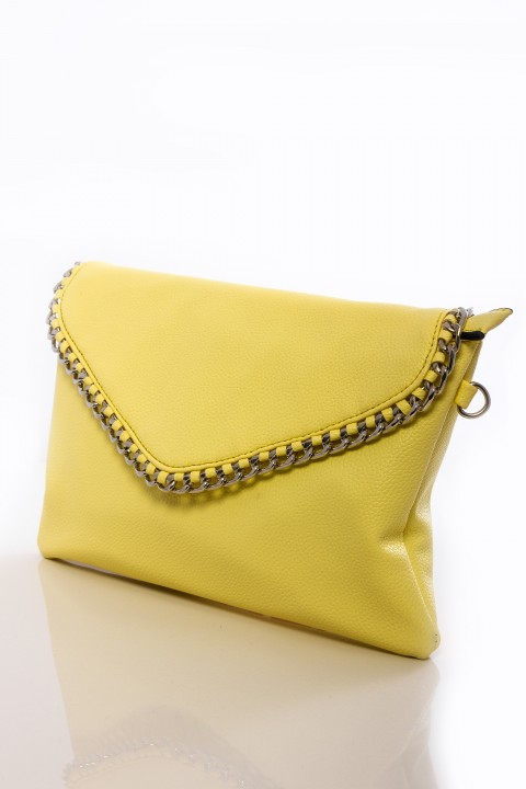 Pochette in ecopelle giallo tenue con tracolla.