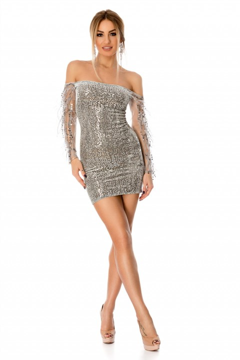 MInidress elegante color argento con manicotti.
