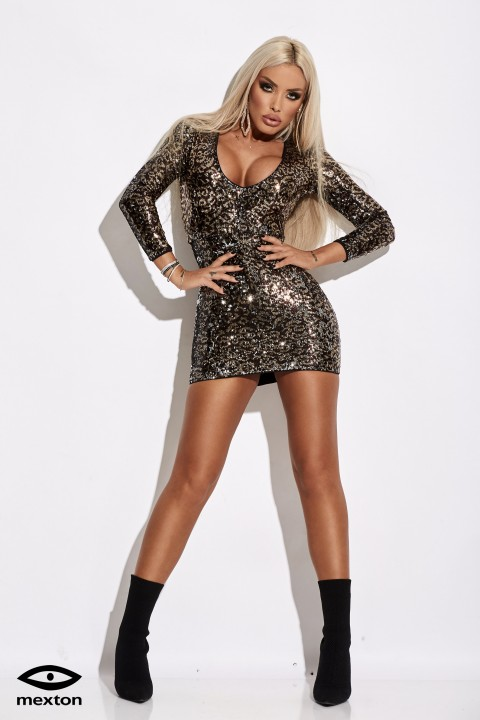 Minidress in paillettes color bronzo.