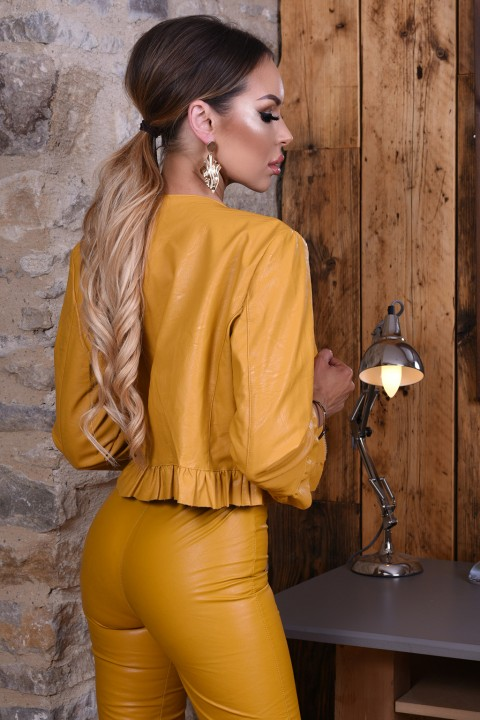 Mustard yellow faux leather jacket with 7/8 sleeves.