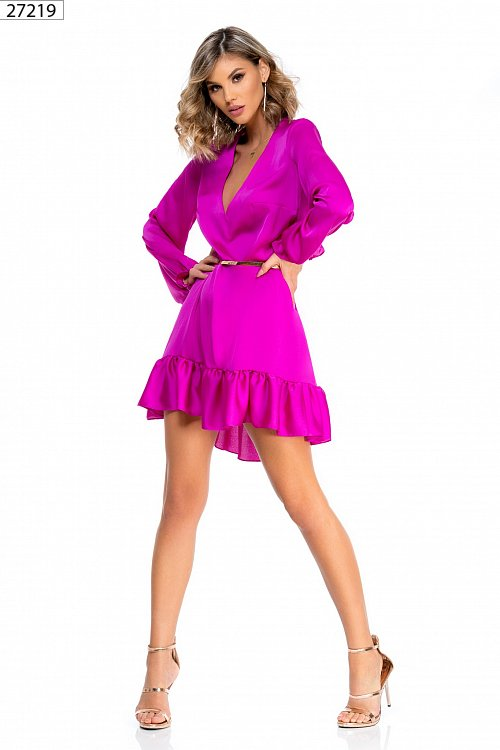 official photos a776a 38692 Abito casual color fucsia in cady lucido