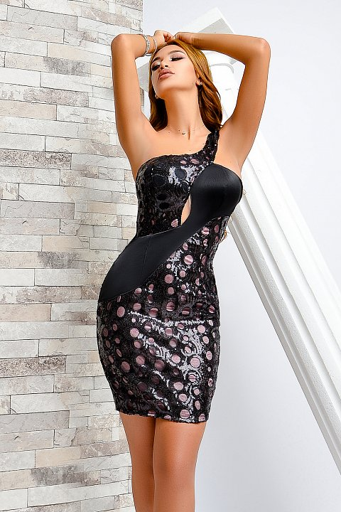 Minidress elegante nero con paillettes.