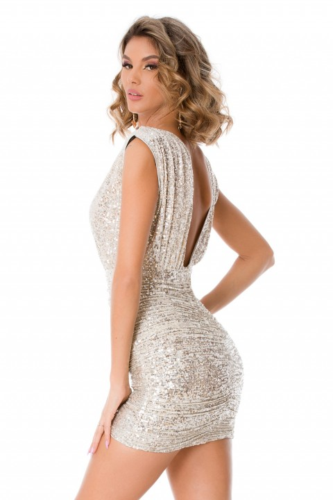 Minidress argento elegante in paillettes.