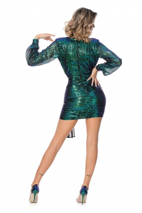 Minidress elegante di colore verde con micropaillettes.