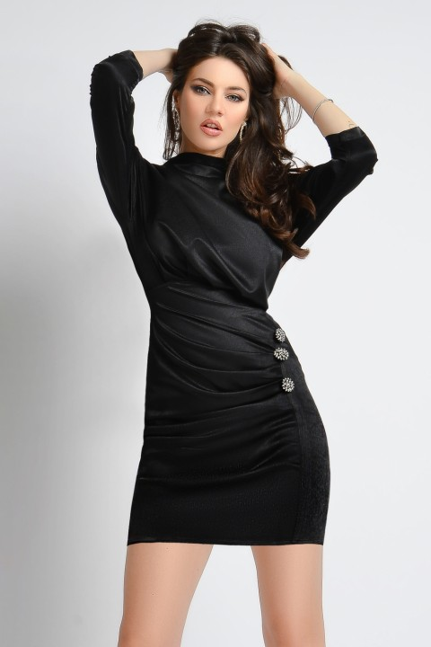 Minidress elegante nero in lurex.