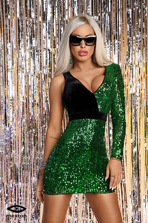 Minidress elegante monomanica di colore verde con paillettes.