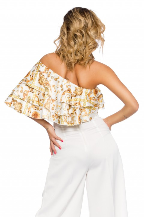 Top cropped color bianco fantasia oro.