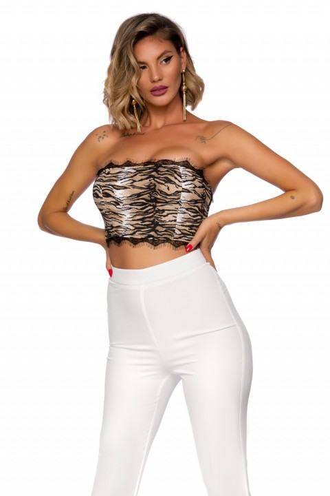Top cropped in tessuto fantasia animalier.