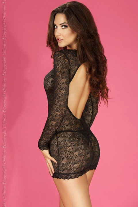 Gorgeous long-sleeved chemise in fine stretch lace