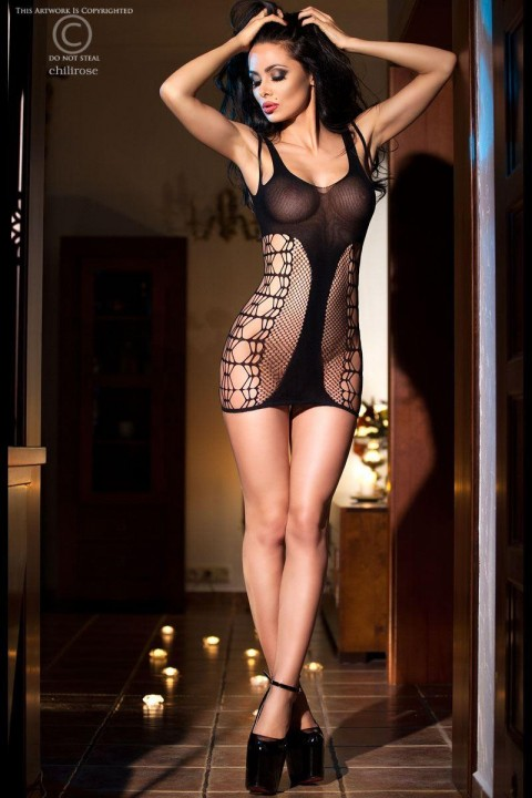 Fishnet mini dress with lace-up side workings and opaque fabric inserts