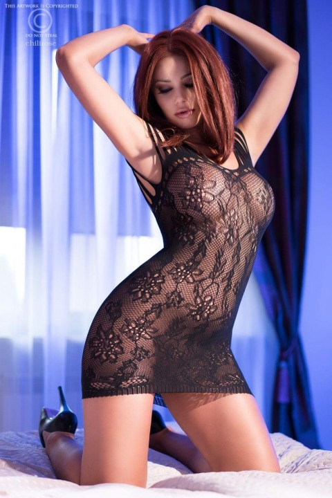 Elastic mesh chemise with floral processing.