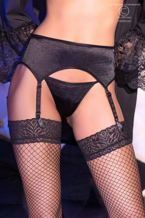 Stretch suspender belt in soft black satin fabric that gives a pretty semi-gloss effect.