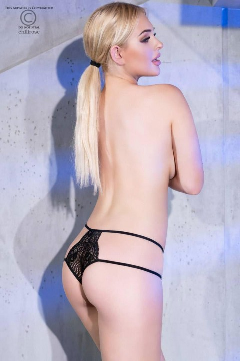 Original black Brazilian briefs in soft floral lace with double adjustable elastic sides