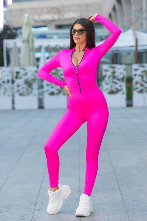 Jumpsuit slim in lycra fucsia.