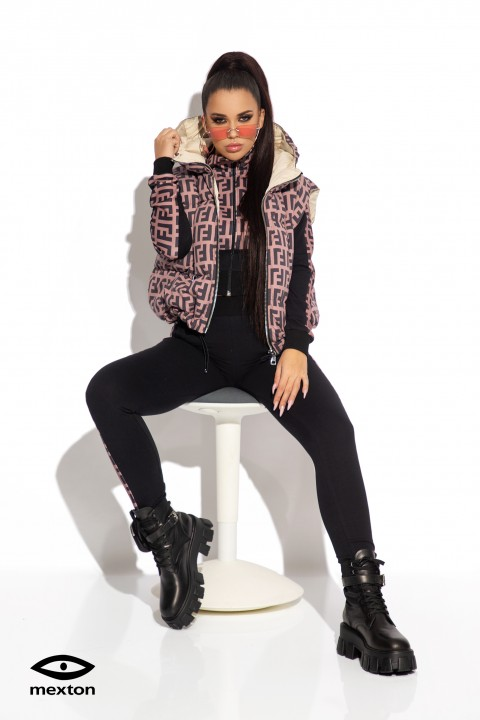 Mauve pink sleeveless down jacket with lettering print.