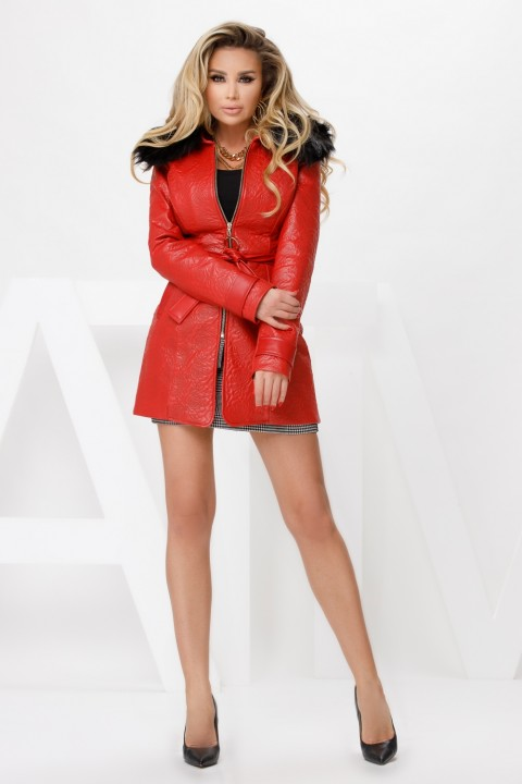 Red jacket in textured faux leather.