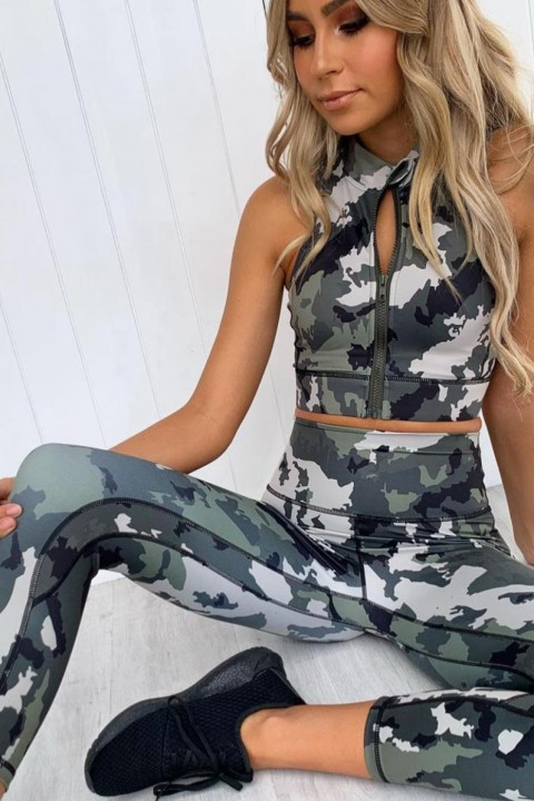 Completo fitness fantasia camouflage.
