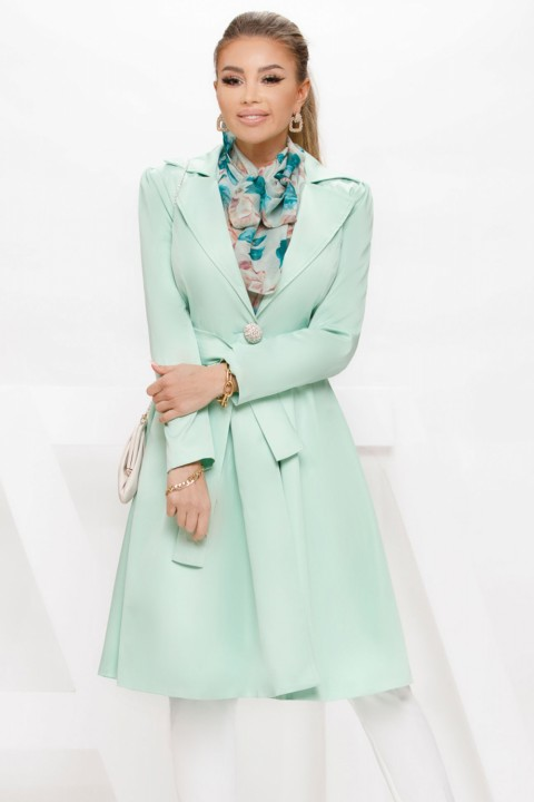Trench elegante in cady verde acqua.