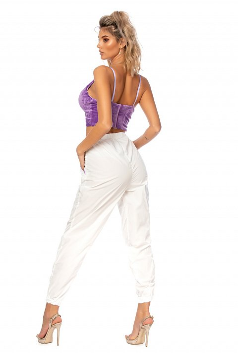White joggers in windproof technical fabric