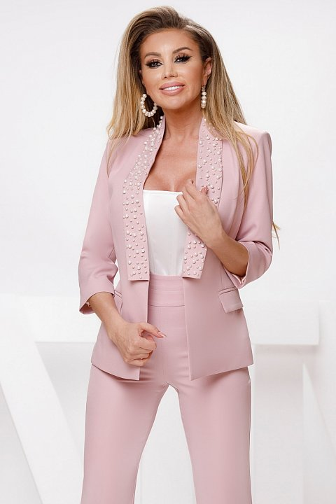 Giacca monopetto in cady rosa tenue.