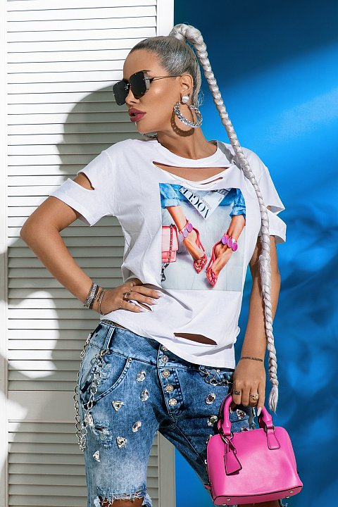 White cotton t-shirt with colorful print.