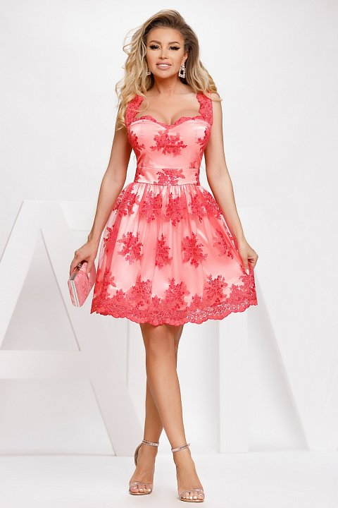 Red satin and lace princess dress.