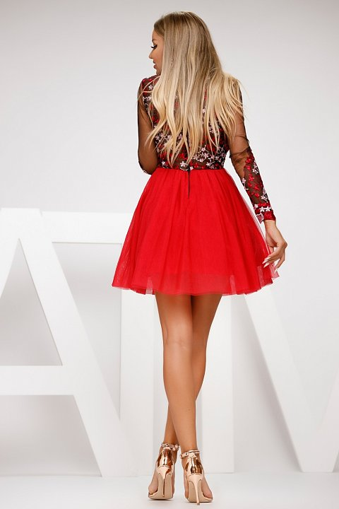 Princess dress with red tulle skirt.