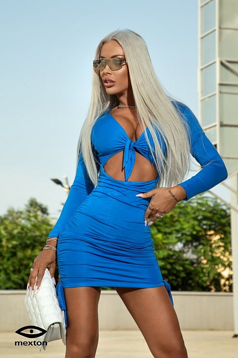 Light blue minidress with knotted neckline