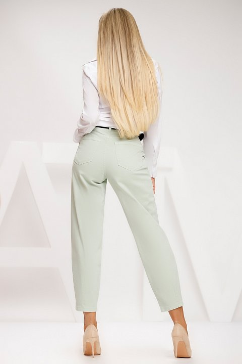 Bleached green wash jeans.
