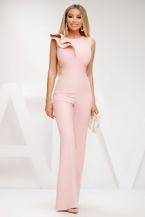 Elegant sleeveless jumpsuit in soft pink cady.
