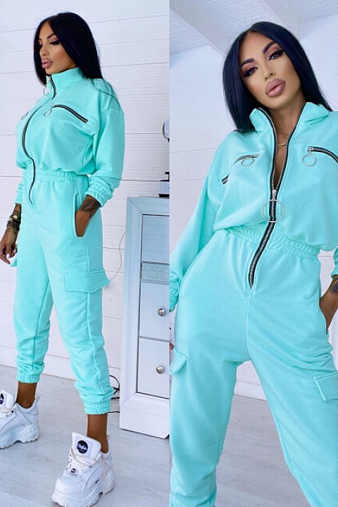 One-piece sports suit in aqua green double cotton