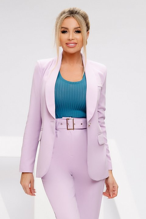 Single-breasted jacket in lilac cady.
