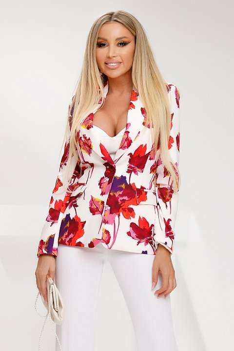 Single-breasted jacket in white cady with watercolor pattern.