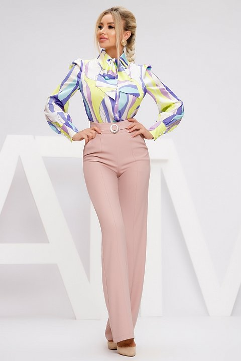 Flared trousers in beige cady.