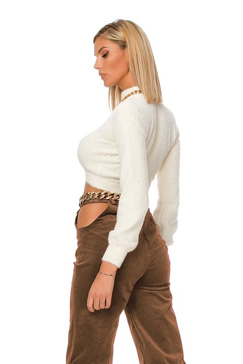 Light brown pannetto trousers with cut-out