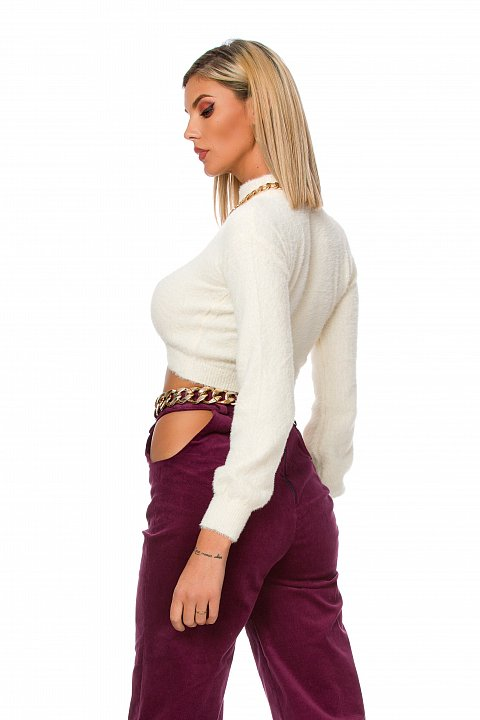 Purple pannetto trousers with cut-out