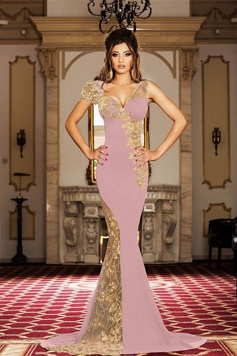 Elegant long old pink dress with transparencies and embroidery.