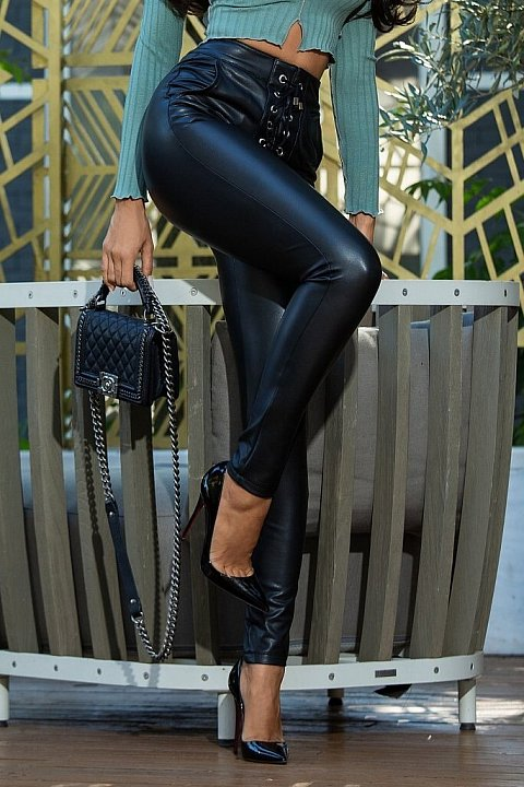 Black faux leather trousers with string.