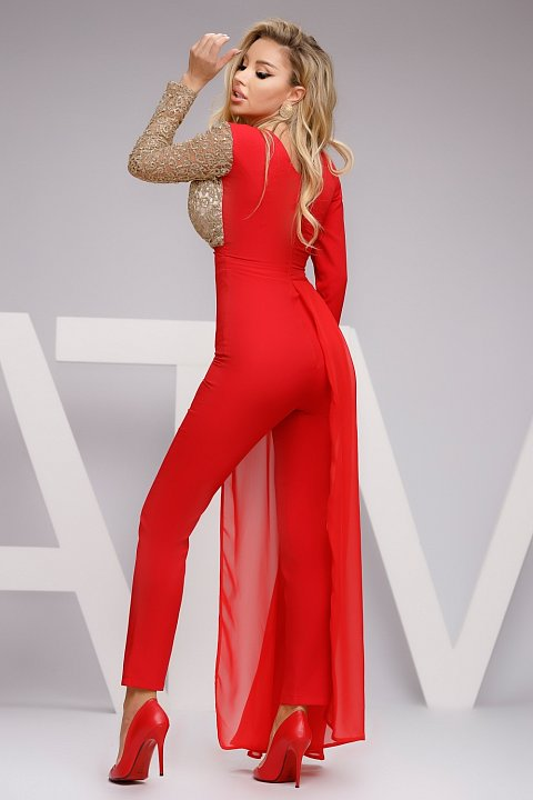 Elegant red and gold jumpsuit