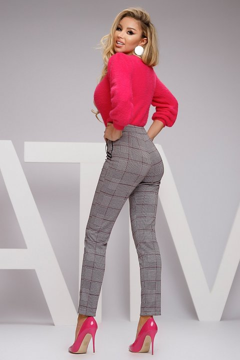 Gray wool blend trousers with checked pattern