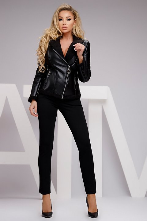 Black faux leather jacket with lining.