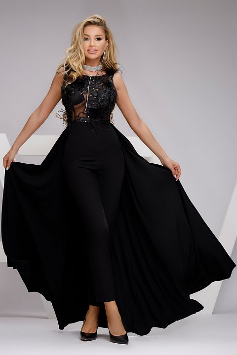 Black formal suit with transparencies and embroidery