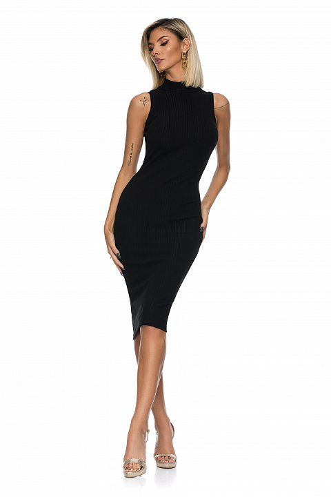 Black sleeveless sheath dress in ribbed cotton jersey with a tight fit