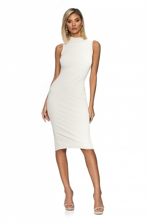 Sleeveless white sheath dress in ribbed cotton jersey with a snug fit